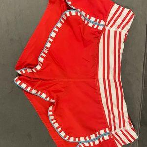 Red, white, and light blue lululemon shorts size 6